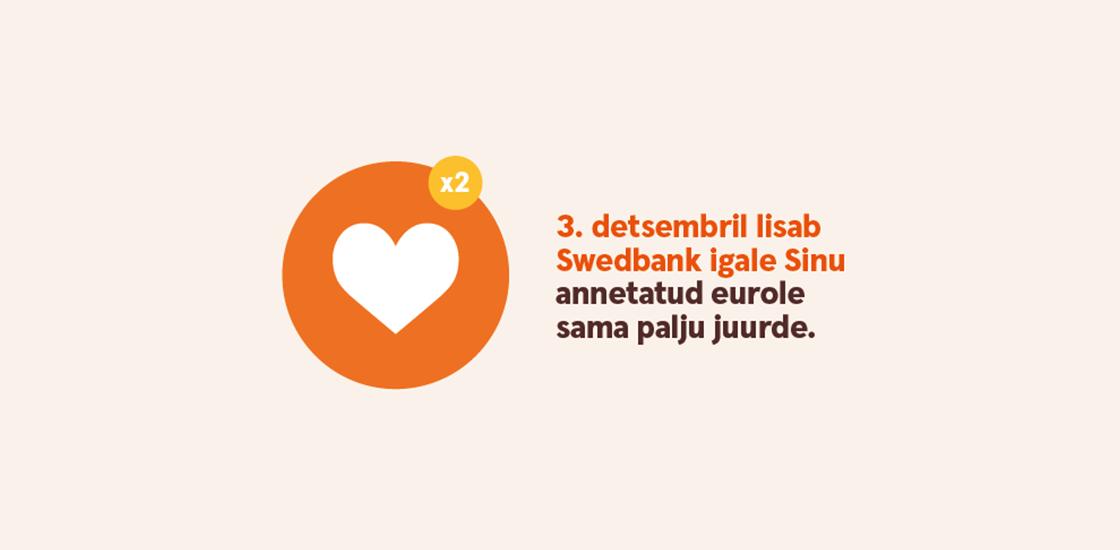 Swedbank aitab annetamistalgutel teha topeltkoguses head