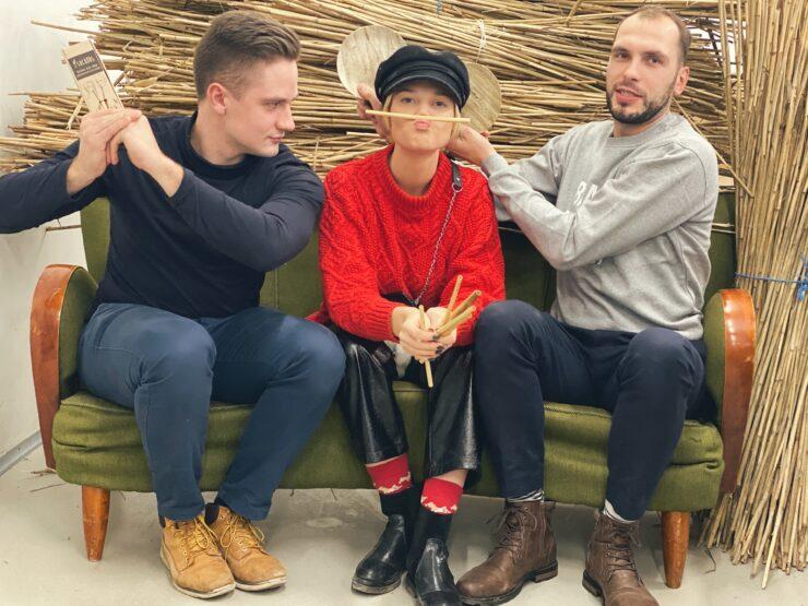 materjali tehnoloog Sander Õun, Grete Riim ja Mihkel Tamm
